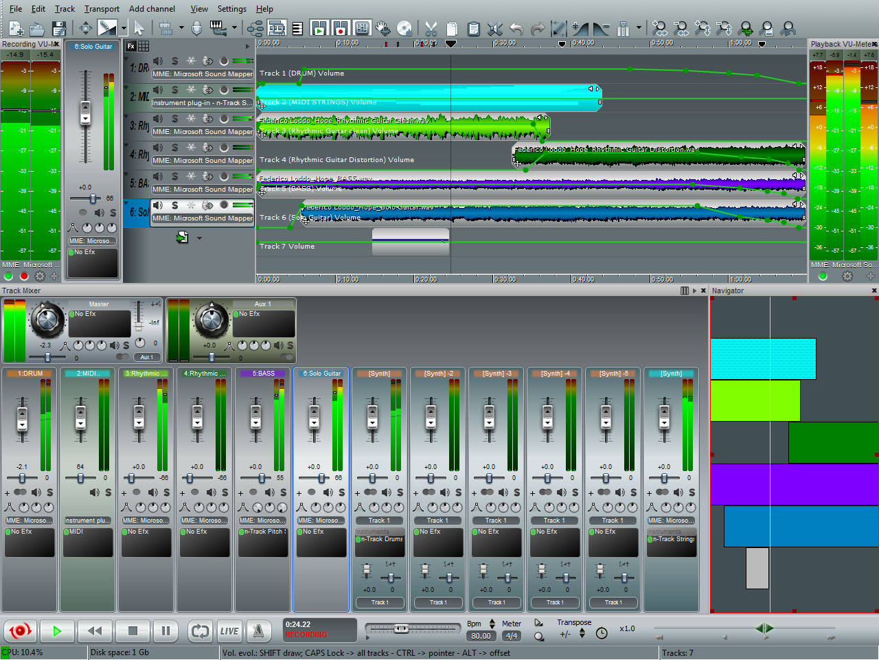 Multitrack audio recording software