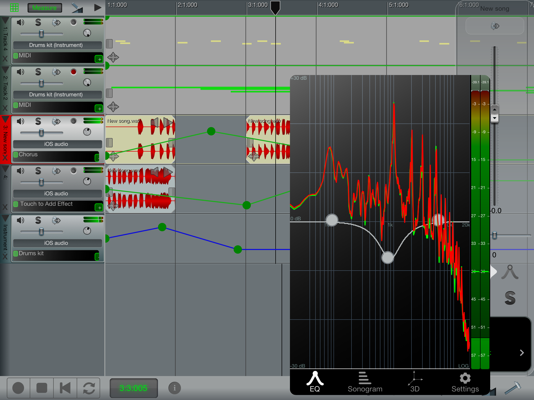 n-Track Studio for iPad screenshot: Eq & Automation
