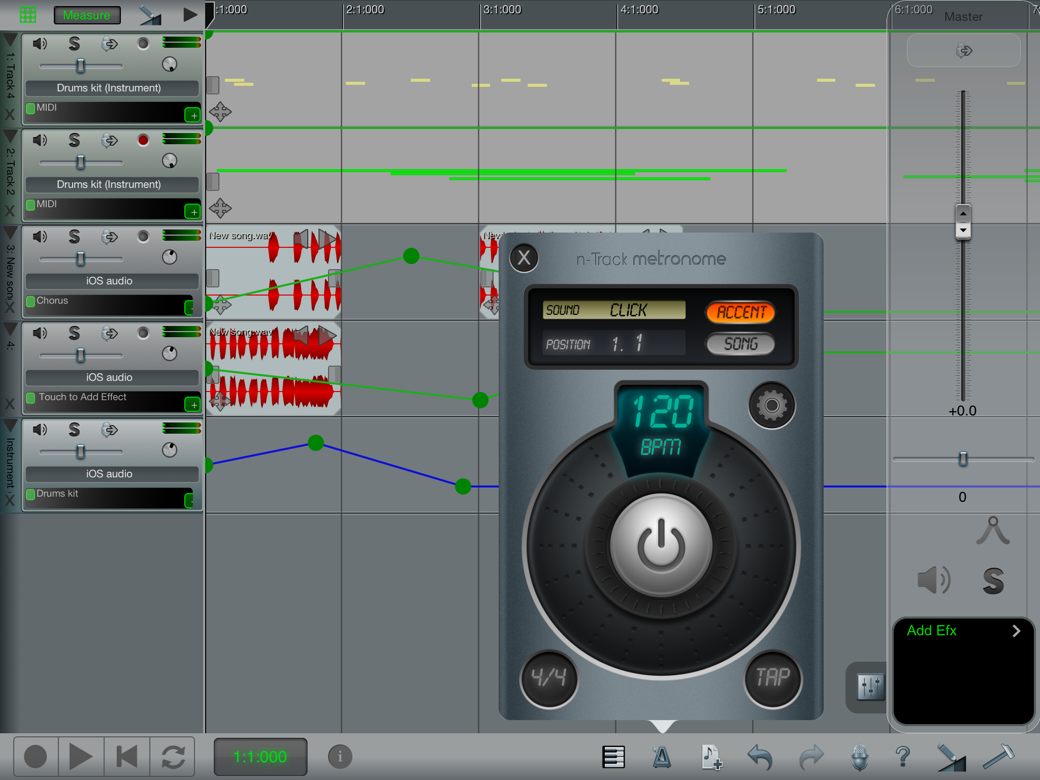 n-Track Studio for iOS screenshot: metronome