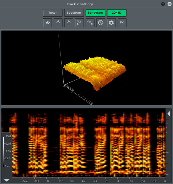 n-Track 3D track/channel frequency spectrum view